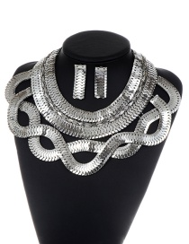 Fashion Silver Color Pure Color Decorated Snake Shape Jewelry Sets