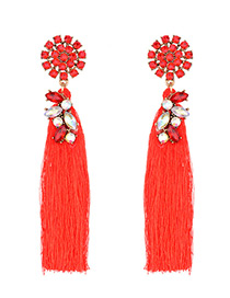 Trendy Red Pure Color Decorated Long Tassel Design Earrings