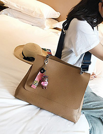 Trendy Brown Ribbon Decorated Pure Color Shoulder Bag