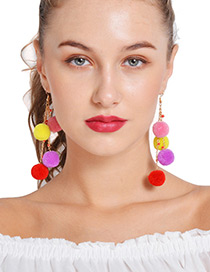 Fashion Multi-color Fuzzy Balls Decorated Simple Pom Earrings