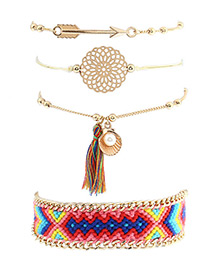 Elegant Multi-color Tassel Decorated Color Matching Bracelet(4pcs)