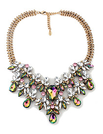 Trendy Multi-color Flower Shape Decorated Simple Necklace
