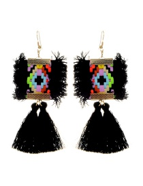 Fashion Black Tassel Decorated Simple Earrings