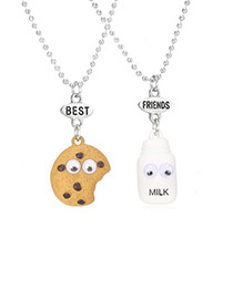 Fashion Brown+white Milk&cookies Pendant Decorated Necklace (2pcs)