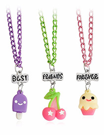 Fashion Multi-color Cherry&ice Cream Pendant Decorated Necklace (3pcs)