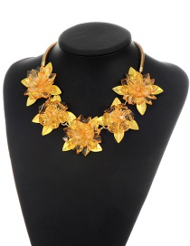 Fashion Yellow Flowers Decorated Pure Color Necklace