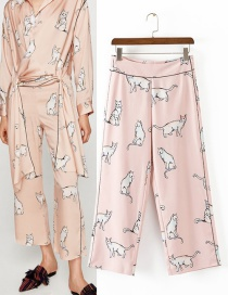 Trendy Pink Cats Pattern Decorated Wide-legs Trousers