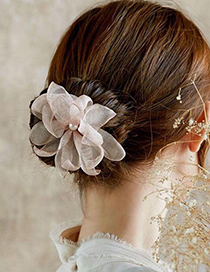 Fashion Pink Flower&pearl Decorated Hair Band