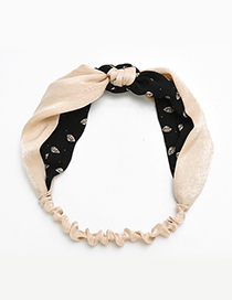 Fashion Apricot+black Leaf Pattern Decorated Hair Band