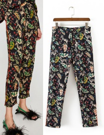 Fashion Multi-color Zebra Pattern Decorated Long Pants