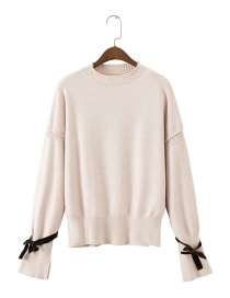 Fashion Beige Bowknot Decorated Pure Color Sweater