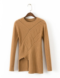 Fashion Khaki Pure Color Decorated Long Sleeves Sweater