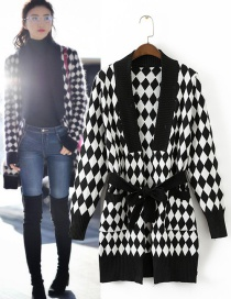 Fashion Black+white Grid Pattern Decorated Simple Sweater