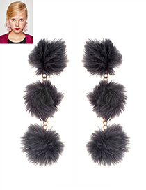 Fashion Gray Fuzzy Balls Decorated Pure Color Pom Earrings