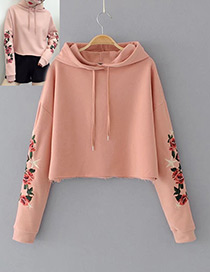 Fashion Pink Embroidery Flower Decorated Simple Hoodie