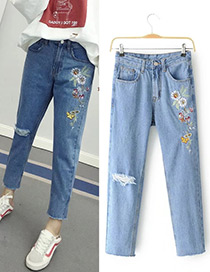 Fashion Blue Embroidery Flower Decorated Simple Jeans