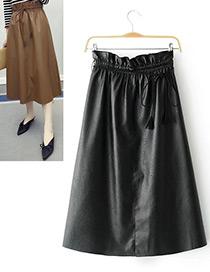 Fashion Black Pure Color Decorated A Shape Pendulum Skirt