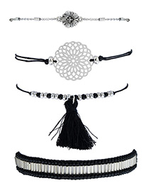Fashion Black Tassel&flower Decorated Simple Bracelet(4pcs)