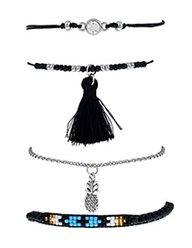 Fashion Black Pineapple&tassel Decorated Simple Bracelet(4pcs)