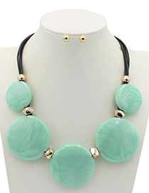 Trendy Green Round Shape Decorated Pure Color Jewelry Sets