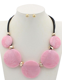 Trendy Pink Round Shape Decorated Pure Color Jewelry Sets
