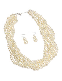 Fashion Beige Pearls Decorated Pure Color Jewelry Sets
