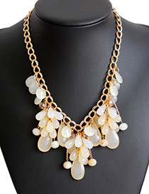 Fashion White Water Drop Shape Decorated Pure Color Necklace