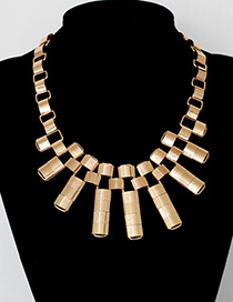 Fashion Gold Color Pure Color Decorated Geometric Shape Necklace