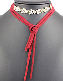 Fashion Red Tassel Decorated Multi-layer Choker