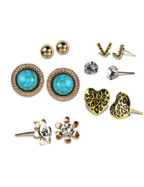 Fashion Antique Gold Flower& Heart Shape Decorated Earrings Sets