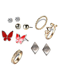 Fashion Gold Color+red Butterfly Shape Decorated Jewelry Sets