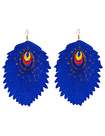 Trendy Blue Leaf Shape Decorated Simple Earrings