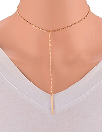 Elegant Gold Color Vertical Shape Decorated Pure Color Necklace