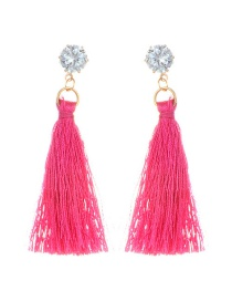 Fashion Plum Red Diamomd Decorated Long Tassel Earrings