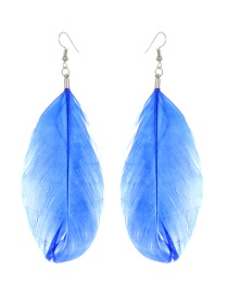 Fashion Sapphire Blue Feather Decorated Pure Color Earrings