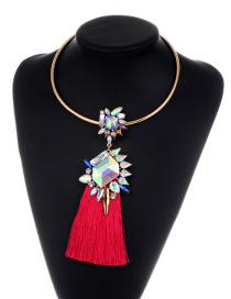 Fashion Plum Red Tassel&diamond Decorated Simple Choker