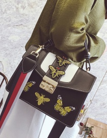 Fashion Black Bee&butterfly Decorated Shoulder Bag