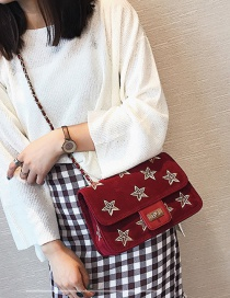 Fashion Red Embroidery Star Decorated Shoulder Bag