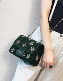 Fashion Green Embroidery Star Decorated Shoulder Bag