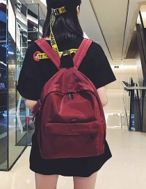 Fashion Claret Red Pure Color Decorated Leisure Travel Bag