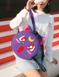 Lovely Purple Cartoon Cat Decorated Sround Shape Backpack