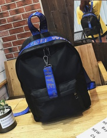 Fashion Blue Ribbon Decorated Waterproof Backpack