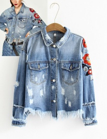 Fashion Blue Embroidery Flower Decorated Simple Coat