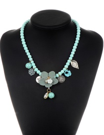 Elegant Light Blue Flower Shape Decorated Necklace