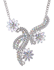 Luxury Silver Color Flower Shape Decorated Necklace