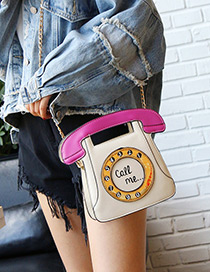 Personality Beige Phone Shape Decorated Bag