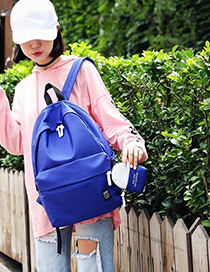 Fashion Blue Color-matching Decorated Backpack (2pcs)