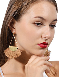 Exaggerated Light Brown Tassel Decorated Earrings