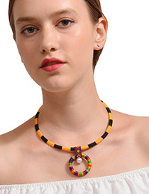 Personality Yellow +black Color-matching Decorated Necklace