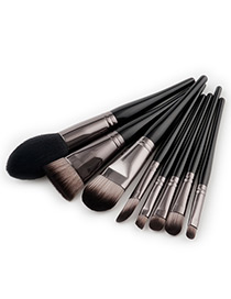 Fashion Black+gray Color -matching Decorated Brush (8pcs)